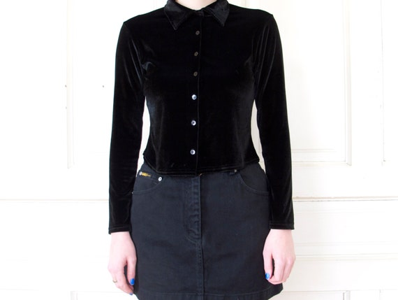 90s Cropped Black Velvet Button Up Shirt By