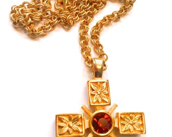 Crystal Maltese Cross Pendant Necklace Reversible Red to Purple Mad Men Retro Jewelry