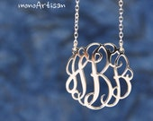 3initials Monogram Necklace-1inch Initial Necklace  Silver monogram necklace