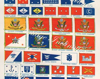 Antique UNITED STATES FLAGS vintage america bookplate, Chart 1950s wall art vintage color lithograph illustration usa