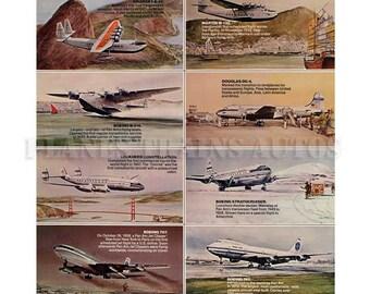 Vintage PAN AM Airline Poster advert. Pan American Airways 50 Years of Experience 1977. Instant Download - Printable Poster