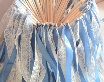 Vintage wedding ribbon wands- Set of 50 single ribbon wands with lace