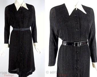 Vintage 70s Sparkly Black Knit Shirtwaist Dress NOS - med, lg, xl