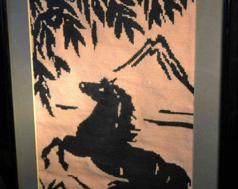 Needlepoint Japanese Horse in frame, vintage needlework black peach Mt. Fuji stallion bamboo wall decor, craft project  year of the horse