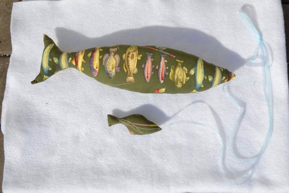 SALE Green Fabric Plush Fish Wall Home Decor, 15 inches for him boys decorations man cave fly fishing salmon trout minnow Father's day gift