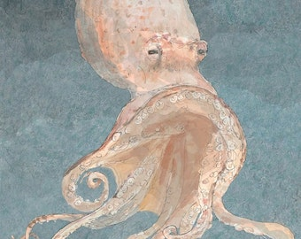 Octopus fine art watercolor painting, wall art decor room archival PRINT any room kids room signed giclee art print, 8.5x11 orange peach