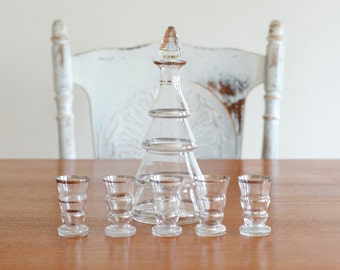Vintage Czech Decanter and Liquor Glasses - Set of 6