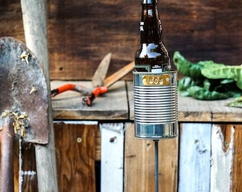 For Mom: Hobo Tin Can Beer Holder / Garden Drink Holder / Mothers Day Gift / Stake Drink Holder