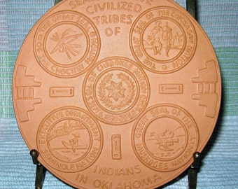 Vintage Frankoma Pottery Trivet Plate - Terra Cotta -  Seals of Five Civilized Tribes in Oklahoma