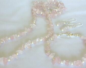 SALE - Necklace, Bracelet, and Earrings SET, Natural Rose Quartz Gemstone, Free Shipping!