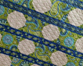 Modern Girl Quilt with Paisley Prints by Michael Miller Fabrics Blue Green White