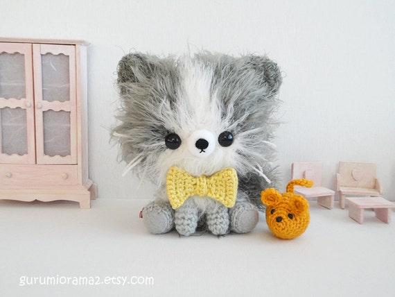 kawaii Kitty Cat kitten amigurumi gray fuzzy collectibles and