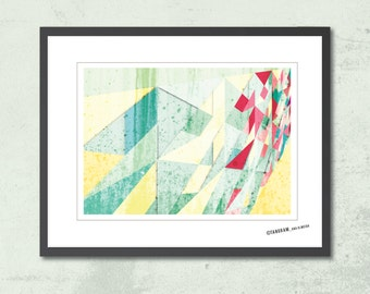 Spring Affiche scandinave. Tangram wall art. Geometric Print. Abstract poster A3. Modern home wall art. Posters and prints