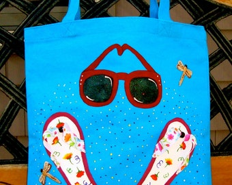 Tote Bag Hand Painted With Flip Flops and Sun Glasses, Tote Bag, Fun School Bag, Back To School, Teacher Gift, Gifts For Her, Book Bag