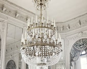 Paris Chandelier Photo - Art Photography Print - Blue and White, Neutral, Light, Airy, Soft - Versailles, Marie Antoinette, Mirrors