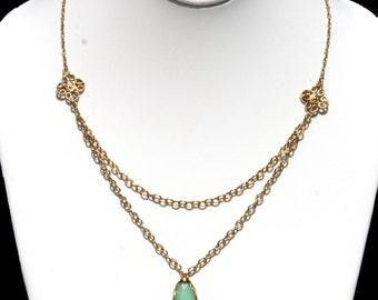 Chrysoprase Pendant Necklace with 24 Karat Gold Bezel