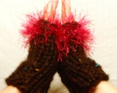 Peek a Boo........Fingerless gloves, cuffs, winter 2013 trend, warm, soft, versitile, IN style, Hot pink faux fur, Black tweed yarn - nouveauvintageltd