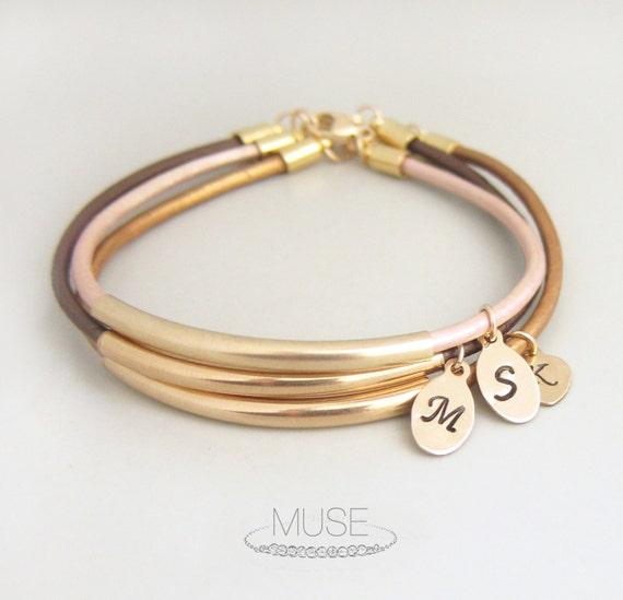 Initial Charm Bracelets: Bar Envy Personalized Leather Bracelet Custom Initial Charm