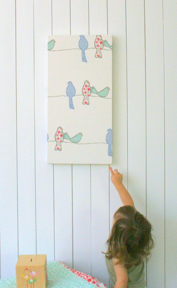 On sale childrens bird fabric wall art nursery decor wall for Children s home decor fabric