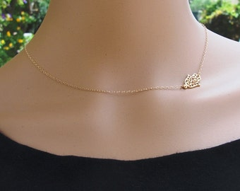 Hamsa Necklace, Gold Hamsa Necklace, Hamsa Gold Necklace, Sideways Hamsa Necklace, Luck necklace, Hamsa Hand Necklace ,Hamsa ,Hand Jewelry