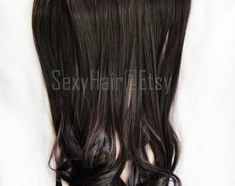 "24 ""Dark Brown Hair Extension, One Piece Multi-Weft Clip in Extension, Clip On Hair Extension, Brown Hair, Long Hair, Thick Hair, Extensions"