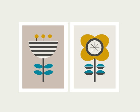 Scandi Flowers Kids Modern Art Prints (Set of Two.) Modern Nursery Art, Modern Baby Art, Kids Wall Art, Kids Room Art, Girl Room Art.