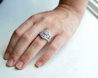 Art Deco Ring - Ornate Silver Ring - Estate Jewelry
