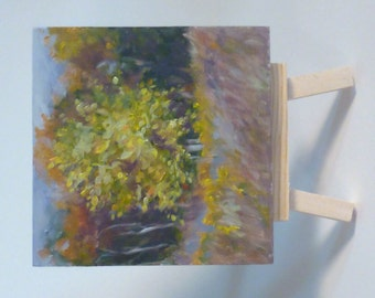 Small Original Landscape Oil Painting - Golden Tree