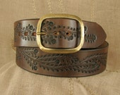 Clearance - Women's Leather Belt - Tooled Floral Vine - Wide Hippie Belt in Brown - Top Quality Full-Grain Vegetable Tanned Leather
