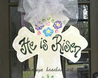 He is Risen Cross Door Hanger - Bronwyn Hanahan Art