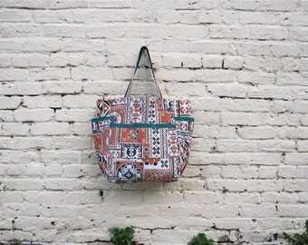 India Inspired Upcycled Weekender - Bold Terra Cotta & Black Ethnic Tribal Print Market / Diaper Bag - Eco Friendly Fashion - Gift Under 50