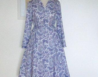 Vintage Paisley Dress by Norman Linton London UK 14 US 12 c.1960s