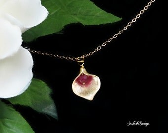 Calla Lily Necklace, Birthstone Necklace, Tiny Necklace, Gift for her, Delicate Gold Necklace, Minimal Necklace, Simple Necklace, Dainty