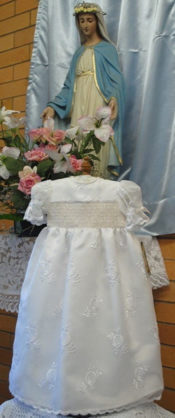 Christening Gown,Baptismal Gown, with matching bonnet, hand smocked, handmade Size 6 months, ready to ship