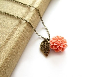 Peach Chrysanthemum Flower Antique Brass Necklace