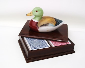 Vintage Wood Box with Ceramic Duck / Playing Card Holder / Wooden Storage Case / Poker Night Supply - Yellow Lime Green