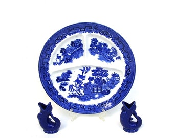 Antique Willowware Plates Blue Willow Grille Plate Vintage Blue and White China Ironstone Dinnerware JC Kent England