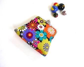 Neon coin purse, flower power, retro floral clutch, spring blooms, clasp purse, summer Michael Miller orange pink purple lime green daisies