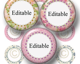 "Cottage Chic, Editable Bottle Cap Images, Digital Collage Sheet, Instant Download, 1 Inch Circles, (cc1) 1"" Editable Circles, Collage Art"