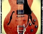 music gift idea-Gibson ES-335  electric guitar art print, gift for guy, gift for boyfriend, rock n roll decor, wall art