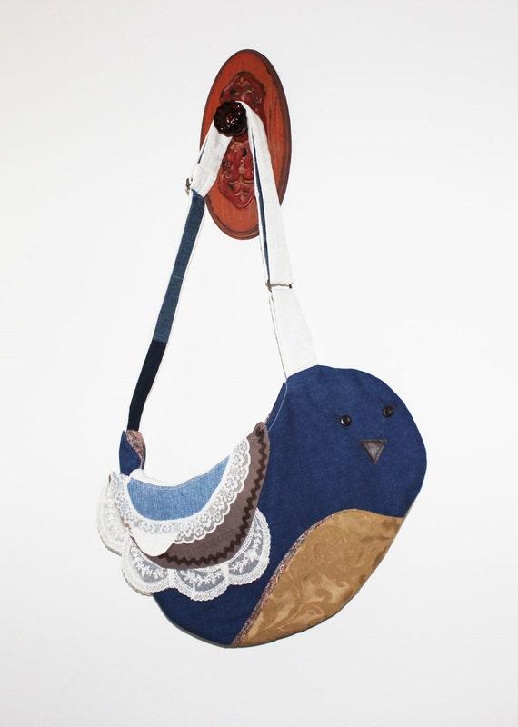 Bird Messenger Bag Cute Novelty Purse Upcycled Denim Unique Handmade Eco-friendly