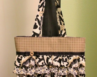 Tote Bag Purse with Ruffles - black/tan