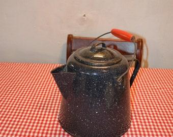 Antique Dark Speckled Blue Enamelware Coffee Pot Kettle
