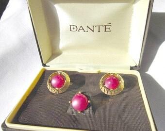Cufflink and Tie Tack Set, Vintage Dante Jewelry, Mad Men Jewelry  ID 061