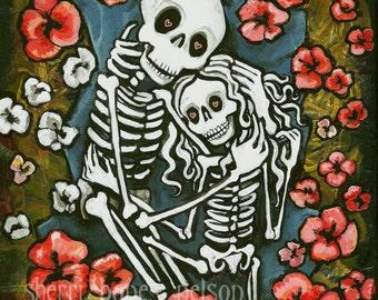 Romantic Day of the Dead Art. Skeleton Couple Valentine Gift. Gothic Wedding, Love, Anniversary Gift. Tattoo Flash Art Print