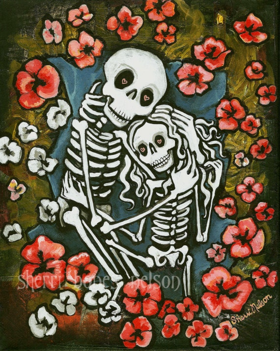 Romantic Day of the Dead Art. Skeleton Couple Valentine Gift.