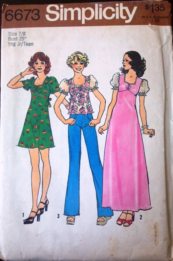 Simplicity 6673 Pattern for Teen Dress in 2 lengths and top