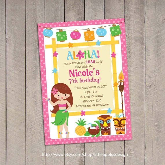 luau birthday invitation / luau invitation / luau by dreamyduck, Birthday invitations
