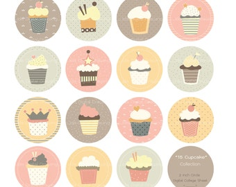 15 Cupcake - 2 inch Circles Digital Collage Sheet - For Personal Project and Small Commercial Use.