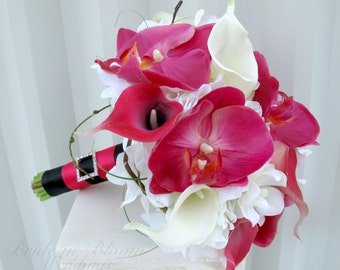 Brides bouquet, Hot pink bouquet, Calla lily orchid Wedding bouquets, White pink and black real touch Bridal bouquet